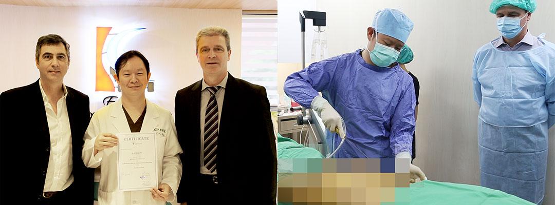 原廠代表Larry及義大利醫生Dr. Marco Stabile特地來台中參訪周爾康整形外科診所,並且現場教學及交流微粹脂技術及授證儀式。